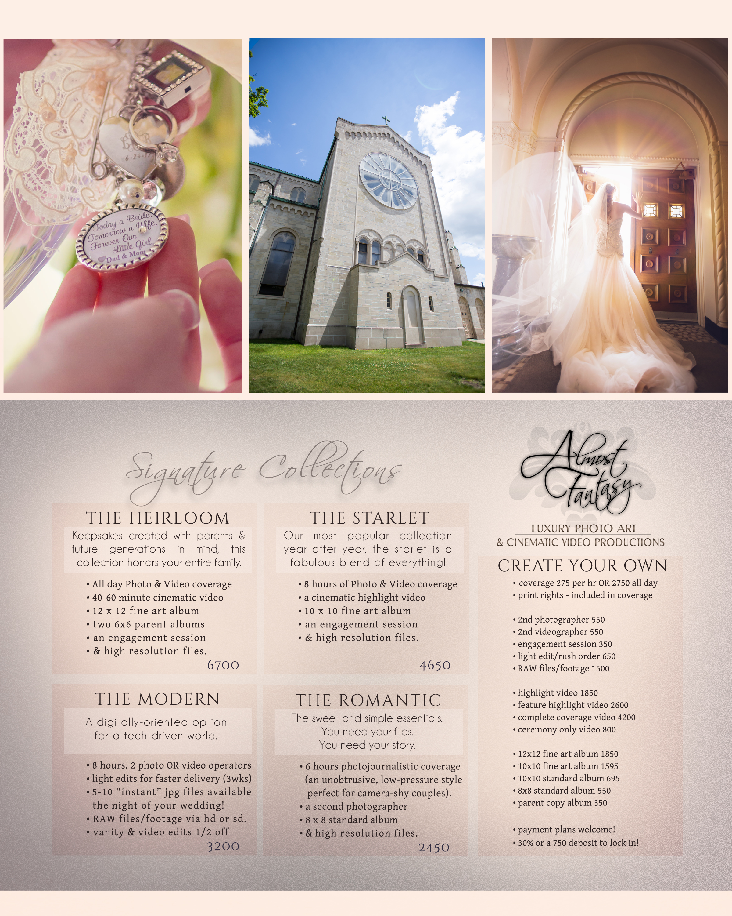 Full pricing for Kalamazoo Photo and Video wedding prices